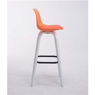 Taburete con Respaldo ROXIO, Estructura de Madera, en Piel color Naranja y Patas Blancas