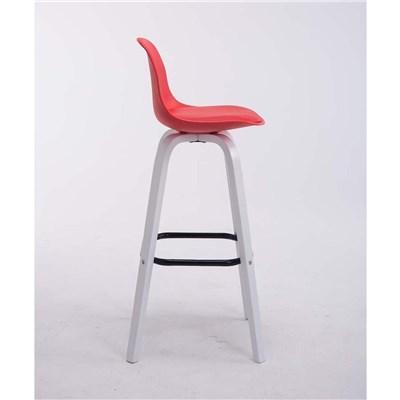 Taburete con Respaldo ROXIO, Estructura de Madera, en Piel color Rojo y Patas Blancas