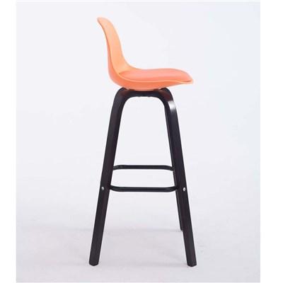 Taburete con Respaldo ROXIO, Estructura de Madera, en Piel color Naranja y Patas Oscuras