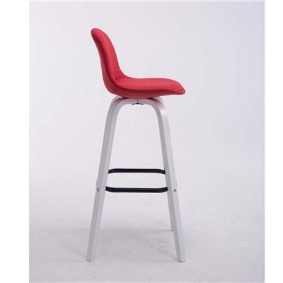 Taburete con Respaldo ROXIO TELA, Estructura de Madera, en color Rojo y Patas Blancas