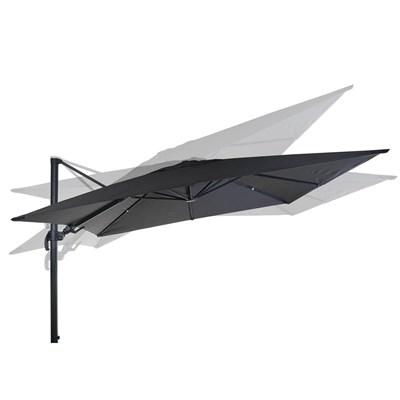 Sombrilla / Parasol POSEIDON CON SOPORTE Y GIRATORIA, de 3 x 3 metros, 100% Ajustable, Cruz de suelo Incluida, en Gris