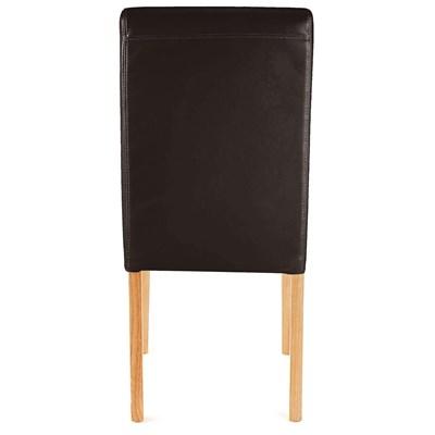 DEMO# Lote 4 Sillas de Comedor LITAU PIEL REAL, Color Marrón, patas claras