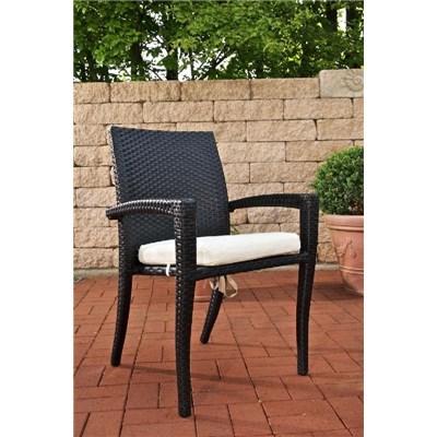 Conjunto Muebles de Jardín BARLI, en poly ratán: Mesa 90x90cm + 4 sillas, color marrón moteado