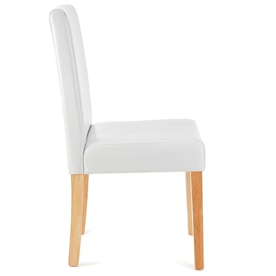 Lote 4 Sillas de Comedor LITAU, precioso diseño, piel blanca brillante y patas claras