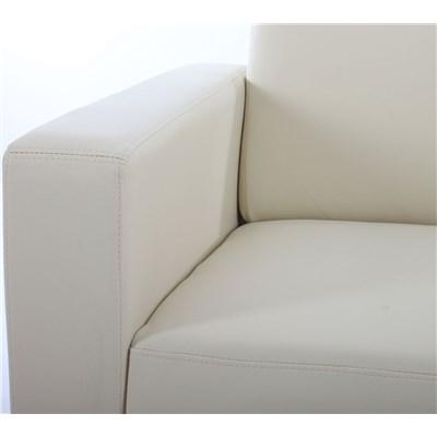 Sofa Modular LYON de 2 plazas, Gran acolchado, tapizado en piel color crema