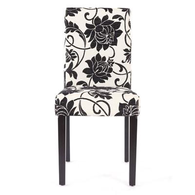 Conjunto de 6 Sillas de Comedor DALI, precioso diseño, Flores Negras patas negras