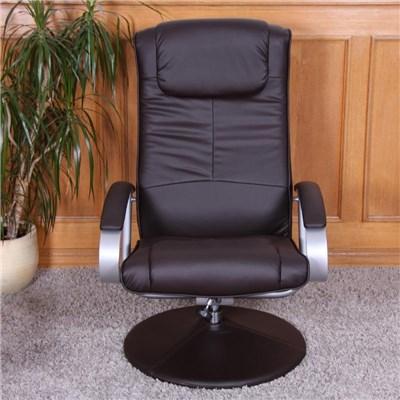 Sillón Relax N44, Máxima Comodidad, reclinable, en 2 piezas, tapizado en piel color marrón