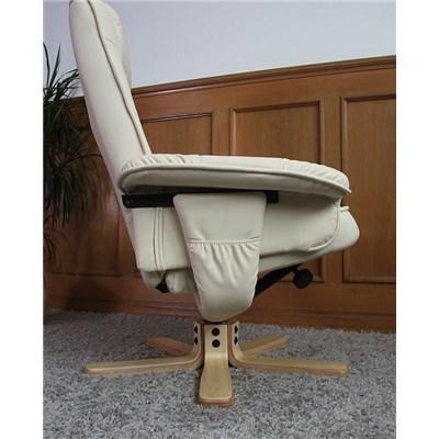 Sillón Relax reclinable MALAGA, tapizado en piel, muy cómodo, color Crema