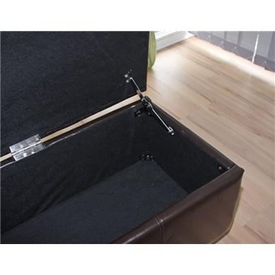 Banco con almacenamiento KIEN XXL, Piel sintetica marrón 180x45x45cm
