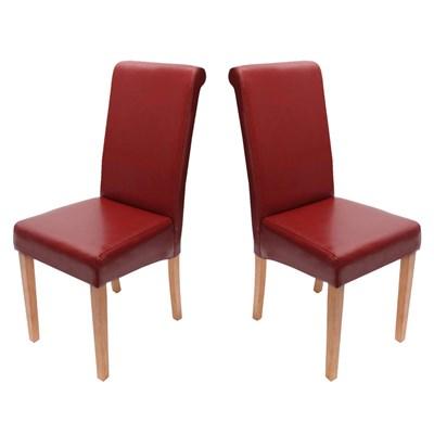 Lote 2 Sillas de Comedor NOVARA II, en piel Roja, patas Claras