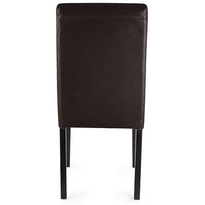 Lote 6 Sillas de Comedor LITAU PIEL NATURAL, Color Marrón y patas oscuras negras