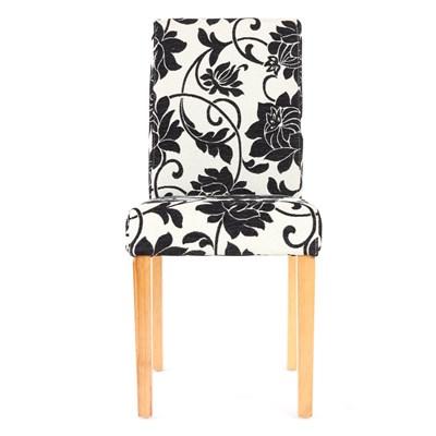 Conjunto de 6 Sillas de Comedor DALI, precioso diseño, Flores Negras patas claras
