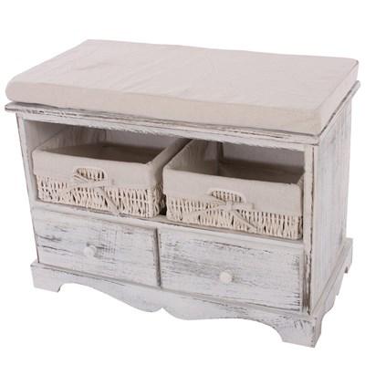 Banco con 2 cestas 42x62x33cm, bonito diseño estilo vintage Blanco