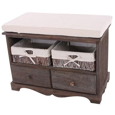 Banco con 2 cestas 42x62x33cm, bonito diseño estilo vintage marrón