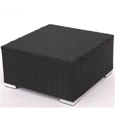 Conjunto Poly Rattan 6 Plazas +1, Sistema Modular, Estructura Negra Antracita, Cojines Burdeos