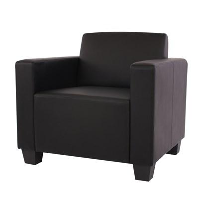Sofa Modular LYON en 6 piezas + 1 Sillón, Gran acolchado, tapizado en Piel sintetica Negro
