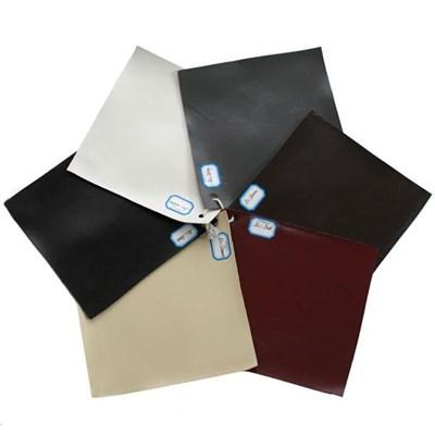 Lote 6 Sillas de Comedor LITAU, precioso diseño, piel negro y rojo y patas oscuras