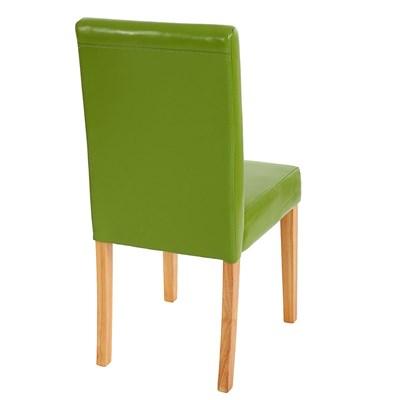 Lote 4 Sillas de Comedor LITAU, precioso diseño, piel Verde y patas claras