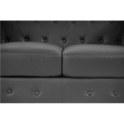 Sofá Chesterfield de Lujo, 3 plazas, en piel sintetica Negra
