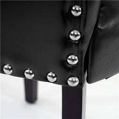 Lote de 2 Sillas de Comedor AUGUSTO, Piel Negra y Patas Oscuras, Diseño Retro con Remaches