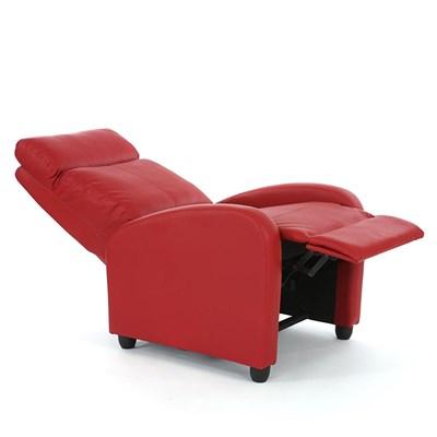 Sillón Reclinable DENVER, Varias Posiciones de Relajación, en Piel color Rojo