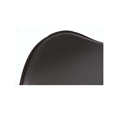 Taburete de Diseño Para Barra YAGO, En Piel Negra y Estructura Metálica Cromada