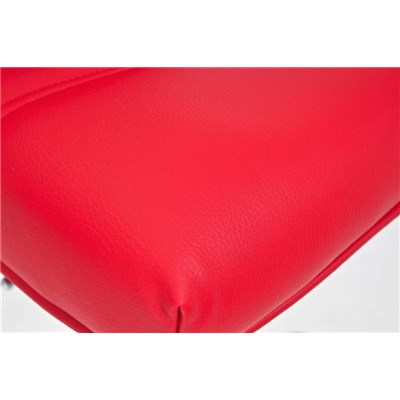 Taburete de Cocina NORA, altura ajustable, asiento y respaldo acolchados, en piel rojo