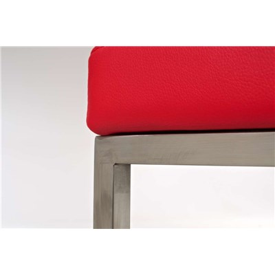 Taburete de Cocina o Bar ELSA PLUS, estructura en acero, asiento acolchado en piel color rojo