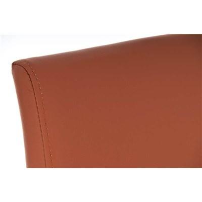 Taburete de Diseño Para Barra PARANA, En Piel Marrón Claro y Estructura en Acero Inoxidable, Máxima Calidad