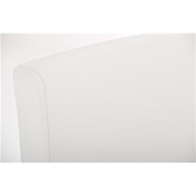 Taburete de Diseño Para Barra PARROT, En Piel Blanca y Estructura en Acero Inoxidable, Gran Acolchado
