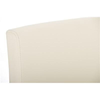 Taburete de Diseño Para Barra PARROT, En Piel Crema y Estructura en Acero Inoxidable, Gran Acolchado