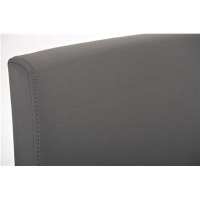 Taburete de Diseño Para Barra PARROT, En Piel Gris y Estructura en Acero Inoxidable, Gran Acolchado