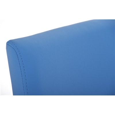 Taburete de Diseño Para Barra PARANA, En Piel Azul y Estructura en Acero Inoxidable, Máxima Calidad
