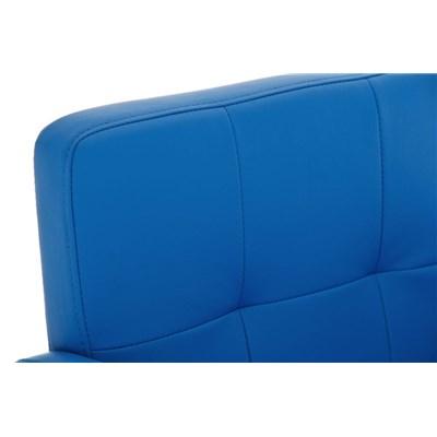 Taburete de Diseño PAU, en Piel Color Azul, Base en Acero Inoxidable, Máxima Calidad y Confort