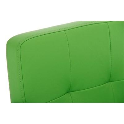 Taburete de Diseño PAU, en Piel Color Verde, Base en Acero Inoxidable, Máxima Calidad y Confort