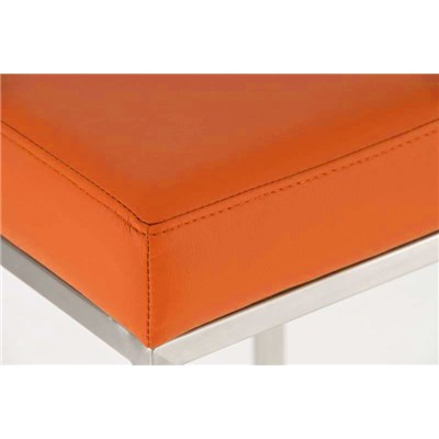 Taburete para Barra o Bar CANADA 80cm, Asiento Piel Naranja y Estructura en Acero Inoxidable