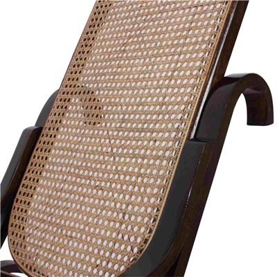 Mecedora Silla de madera M41, estructura en color nogal y asiento y respaldos en mimbre