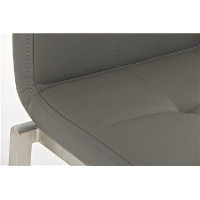 Taburete de Cocina o Bar MARTINA PRO, estructura en acero, acolchado tapizado en piel gris