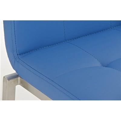 Taburete de Cocina o Bar MARTINA PRO, estructura en acero, acolchado tapizado en piel azul