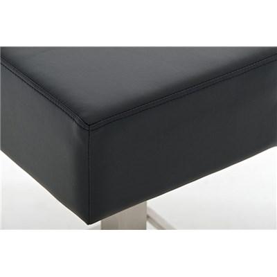 Taburete de Bar MARK 76 PIEL, en acero inoxidable, altura asiento 76cm, tapizado en piel negro