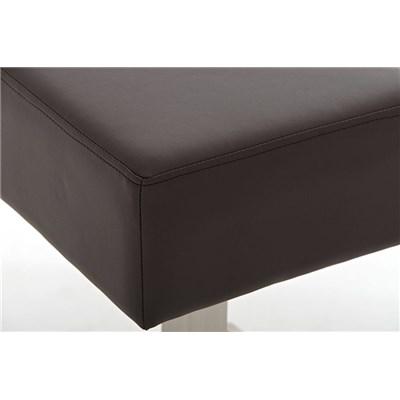 Taburete de Bar MARK 76 PIEL, en acero inoxidable, altura asiento 76cm, tapizado en piel marrón