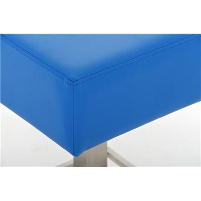 Taburete de Bar MARK 76 PIEL, en acero inoxidable, altura asiento 76cm, tapizado en piel azul