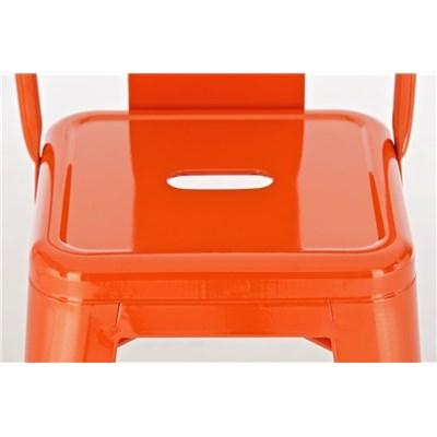 Taburete de Diseño MEISON, en Color Naranja, Fabricado en Metal, Con Respaldo