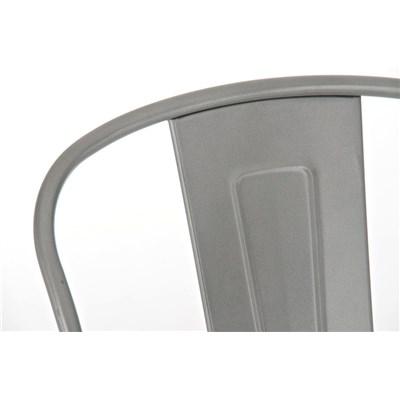 Taburete para Bar o Cocina ADRI, muy resistente, modelo apilable, gran respaldo, en metal color plata