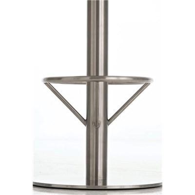 Taburete de Bar o Cocina LARA 85cm, En Piel Morado y Estructura de Acero Inoxidable