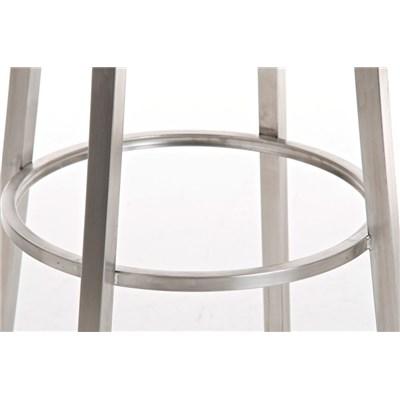 Taburete para Bar KARMON, Estructura en Acero Inoxidable, gran Calidad, tapizado en piel gris