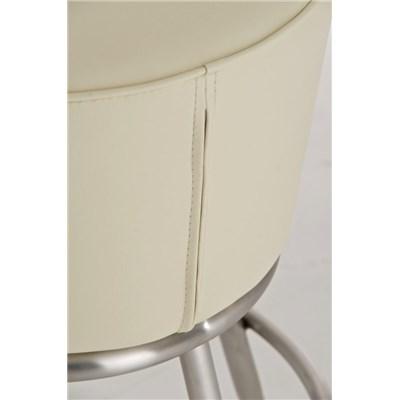 Taburete de Bar CARLOTA 85cm, en acero inoxidable, gran asiento acolchado, en piel color crema