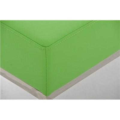 Banco de 2 plazas MARA, En Piel Verde y Estructura de Acero Inoxidable, 80 x 40 cm