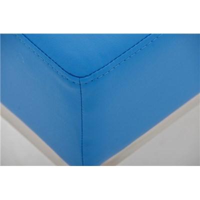 Banco de 3 plazas MARA, En Piel Azul y Estructura de Acero Inoxidable, 120x 40 cm