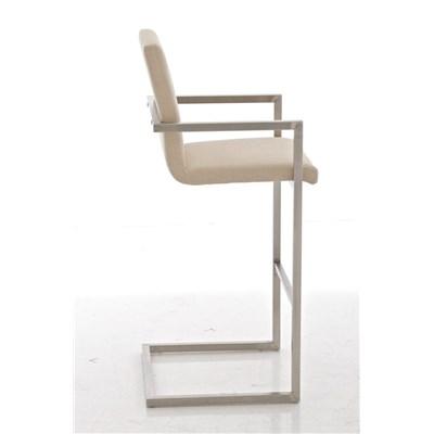 Taburete de Diseño ISAIA, En Tela Color Cremay Estructura de Acero Inoxidable, Apoyabrazos Integrados